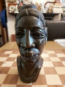 Carved Stone African Tribal Art Female Bust Sculpture  Heavy 5.9kg 26cm