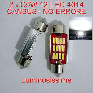 2x Lampada luci targa//interno siluro a led 36mm T11 C5W 6 LED 6000K reali