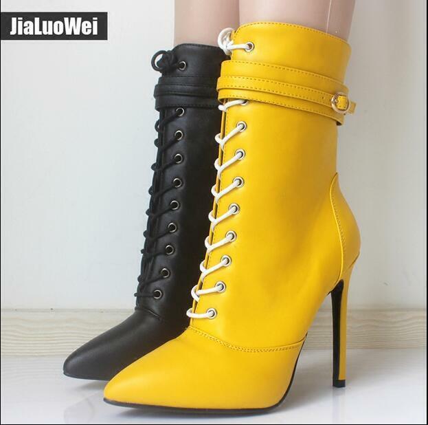 Wouomo Lace Up High Heel 12 CM Stilettos Ankle stivali Buckle Pointy Toe scarpe yr