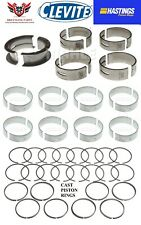 Ford 289 302 50 63 85 Hastings Piston Rings With Clevite Main Rod Bearings