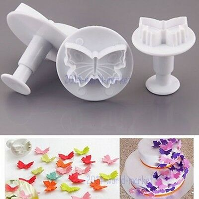 Butterfly Fondant Cake Plunger Cutter Sugarcraft Decorating Baking Tools Mold #T