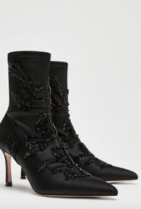 Zara Bordado Tacón Alto botas al tobillo de Satén Negro-Bnwt-Talla