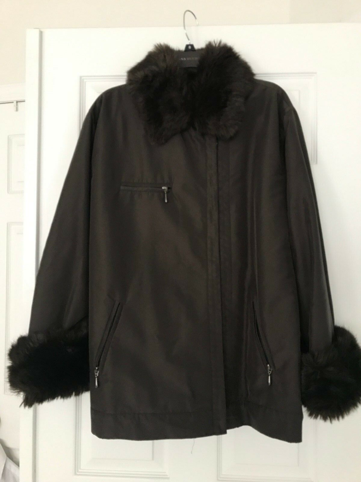 MAG Women thin filled coat coat coat in dark brown; size 8; Pre-Owned 4b28d2