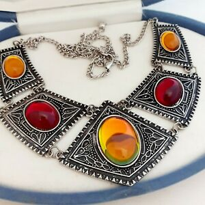 Vintage-Tribal-Style-Large-Statement-Yellow-amp-Red-Glass-Cabochon-Bib-Necklace-3