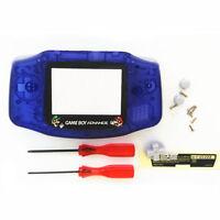 Gba Nintendo Game Boy Advance Replacement Housing Shell Screen Lens Blue Mario