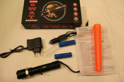 2x Power batería 3 X del SWAT bomberos-led-taschenlape-Zoom 1000m alcance incl