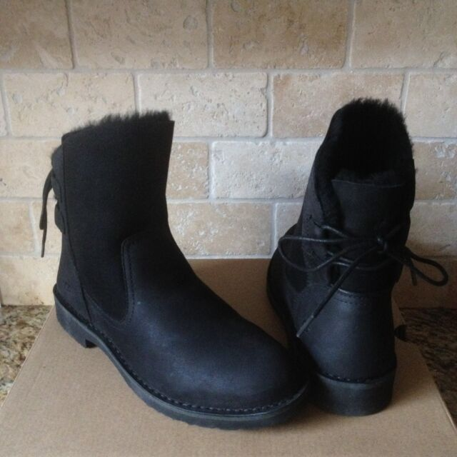 dcd92590b59 UGG Naiyah Black Fur Leather Lace-up Bow Ankle Boots Booties Size US 11  Womens