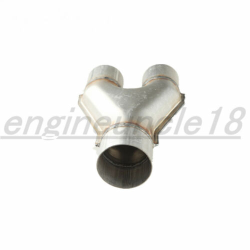 """Universal Aluminized Steel Exhaust Y Pipe Inlet 4/"""" Dual Outlet 3.5/"""" Single Pipe"""