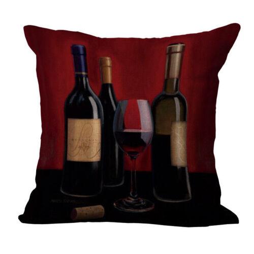 Cotton Linen vin rouge imprimé femme jeter taies d/'oreiller Voiture Canapé Deco Housse de coussin