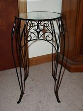 BLACK METAL ACCENT TABLE FLEUR DE LIS SCROLL DECORATIVE POTTED PLANT STAND