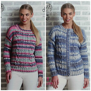 efc9f22360c94 KNITTING PATTERN Ladies Round Neck Cable Jumper   Cardigan Drifter ...