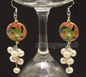 6-7mm-Round-White-Natural-Pearl-with-18mm-Pink-Cloisonne-Dangle-earring-ear516