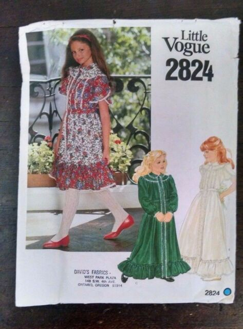 8f173791bc69e Vtg Little Vogue 2824 Girls Old Fashioned Dress Tulip Sleeves 10 Cut  Complete