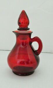 Avon-Cruet-Red-Ruby-Glass-Vinegar-Or-Oil-Small-Jar-W-Strawberry-Stopper