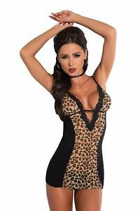 Negligé S M L XL 36 38 40 42 leopard schwarz braun Dessous Animal String Spitze