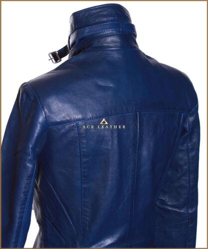 New Lambskin Lauren Style Blue Nappa Soft Coat Leather Real Ladies Safari Royal qZqtOT8