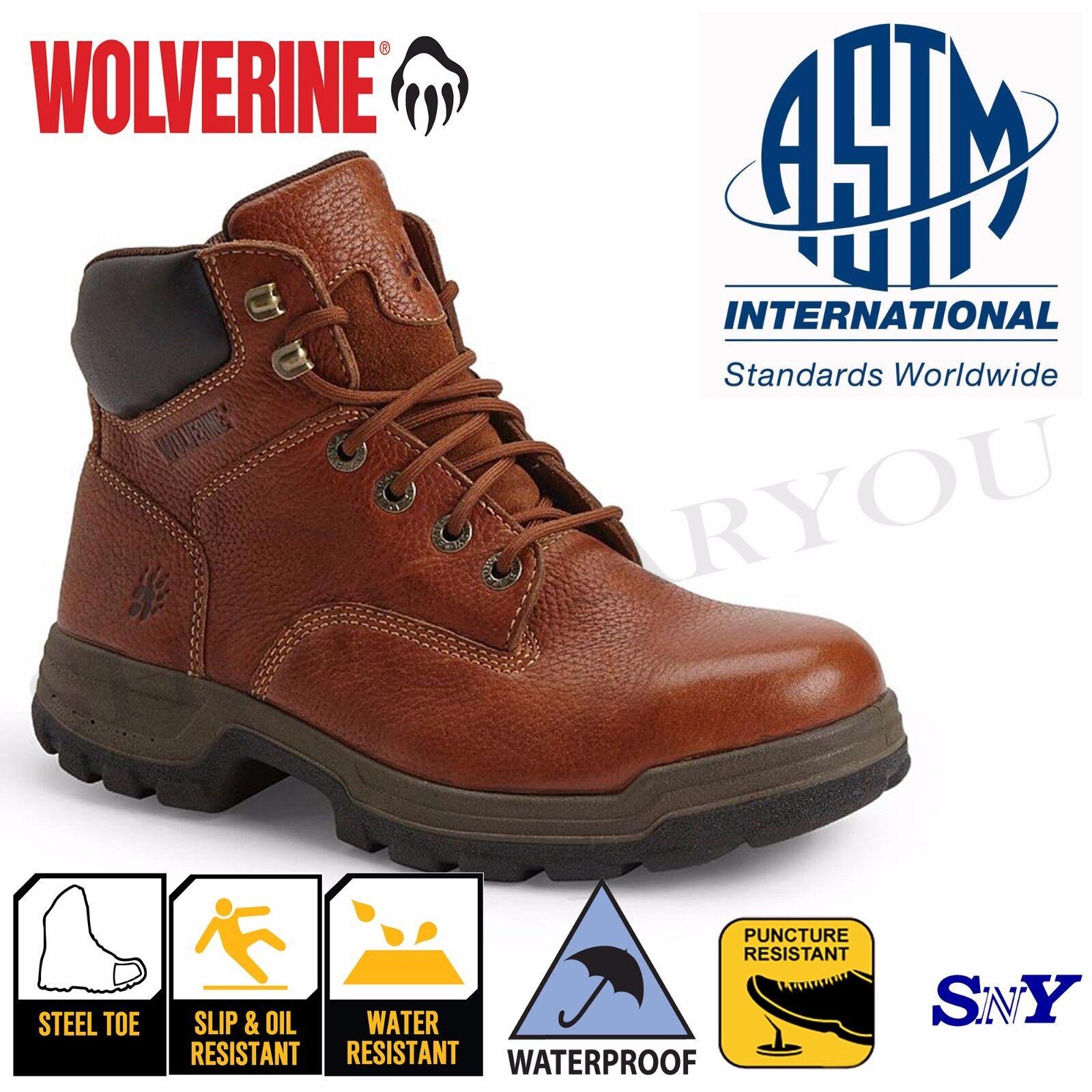 6  Steel Toe Work Boots Waterproof Slip Resistant Fiberglass Shank ASTM rated wv