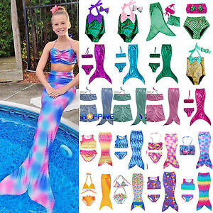 Kids Girls Swimwear Swimmable Mermaid Tail Bikini Set Costume Beachwear Swimsuit