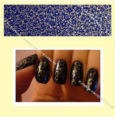 Clearance 3 metres ORIENTAL BLUE GOLD metallic flowers nail transfer foil.