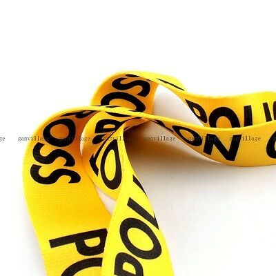 Yellow Police Line Pattern Adjustable Guitar Strap Durable Belt Acoustic Bass