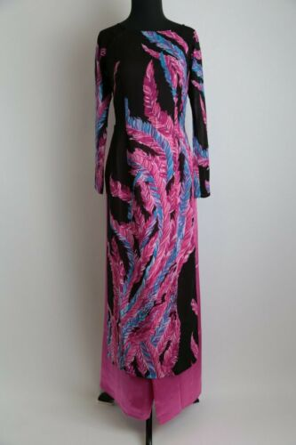 Sizes Available Black with Purple and Blue Ao Dai w//Pants Ao Dai Vietnam