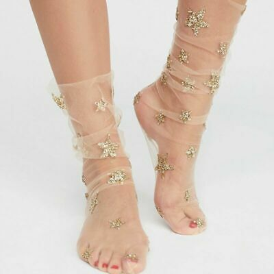 1 Pairs Women Girl Glitter Thin Soft Star Sheer Mesh Tulle Socks Fishnet Hosiery