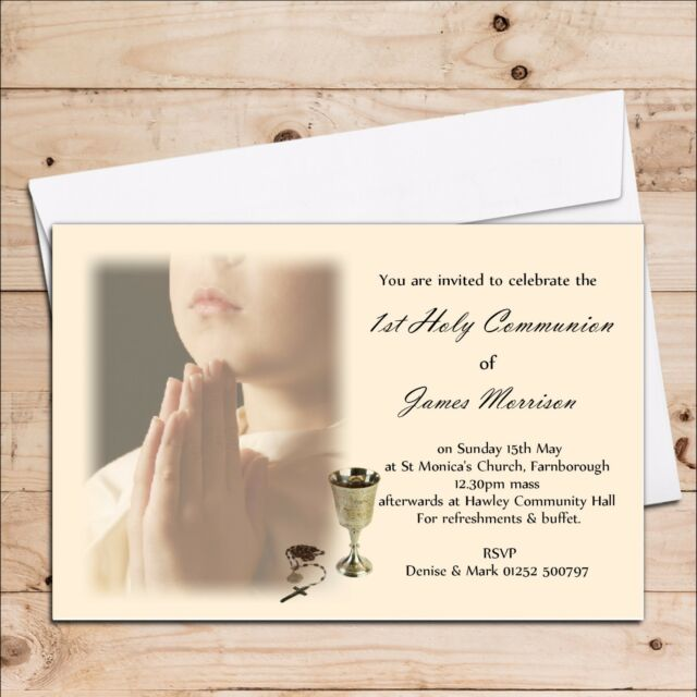 10 Personalised Girls Boys 1st First Holy Communion Invitations