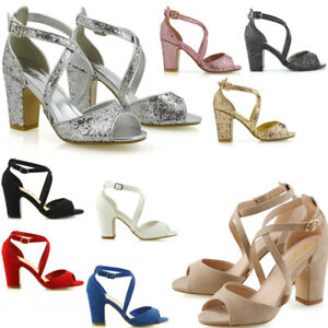 Womens-Strappy-Ankle-Strap-Sandals-Ladies-Block-Mid-Low-Heel-Party-Shoes-Size