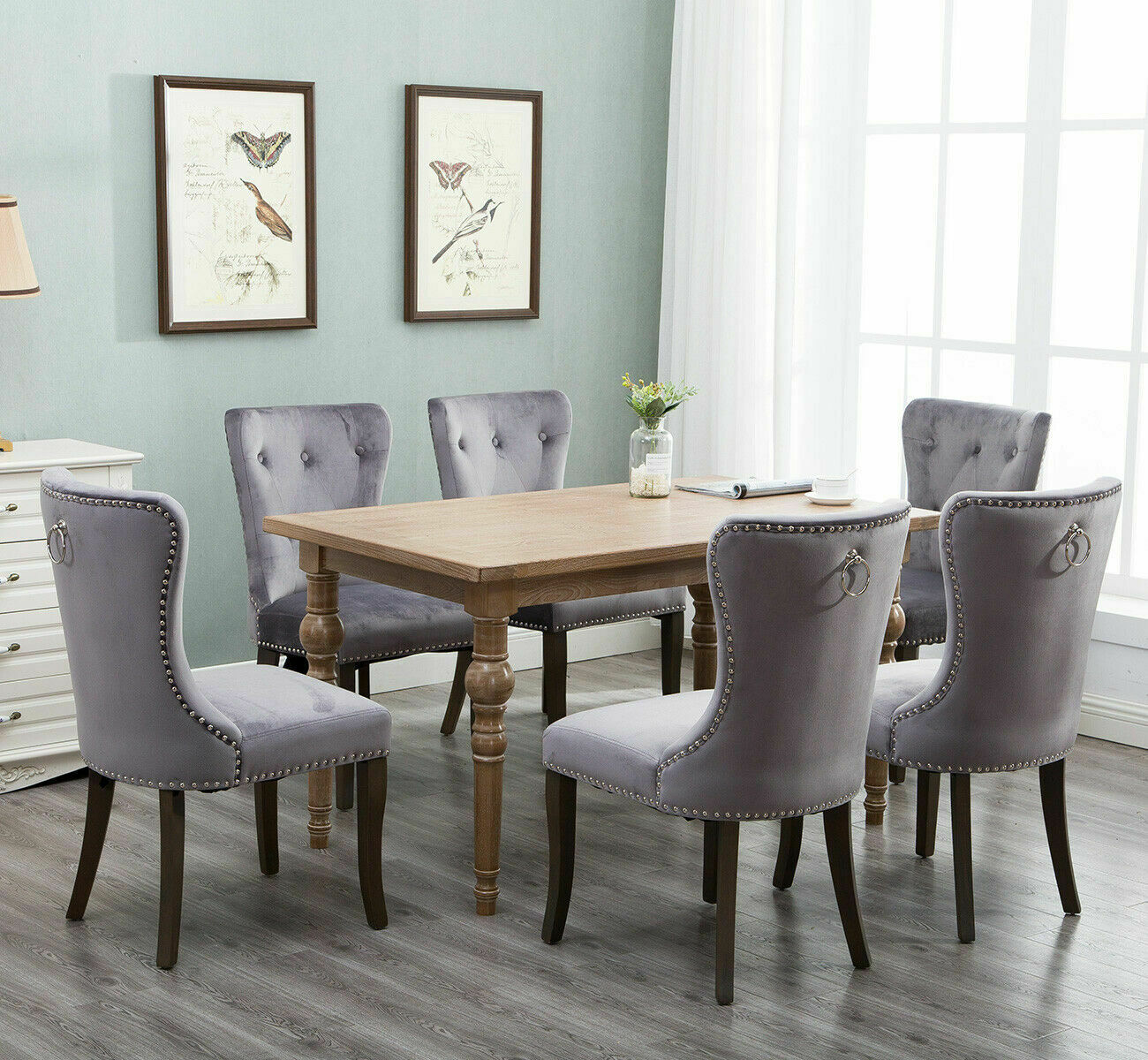 Set Of 2 Dining Chairs Wood Button Tufted Chair Upholstered Accent Chair Grey
