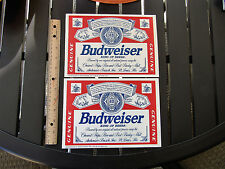 (2) VINTAGE  BUDWEISER BEER LABEL 9 1/4'' X 6 1/2'' STICKER SIGNS  For Man Cave