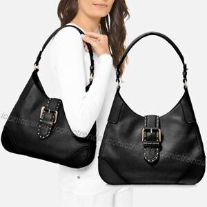 NWT-Authentic-298-Michael-Kors-Lillian-Medium-Shoulder-Bag-Leather-Black-Gold