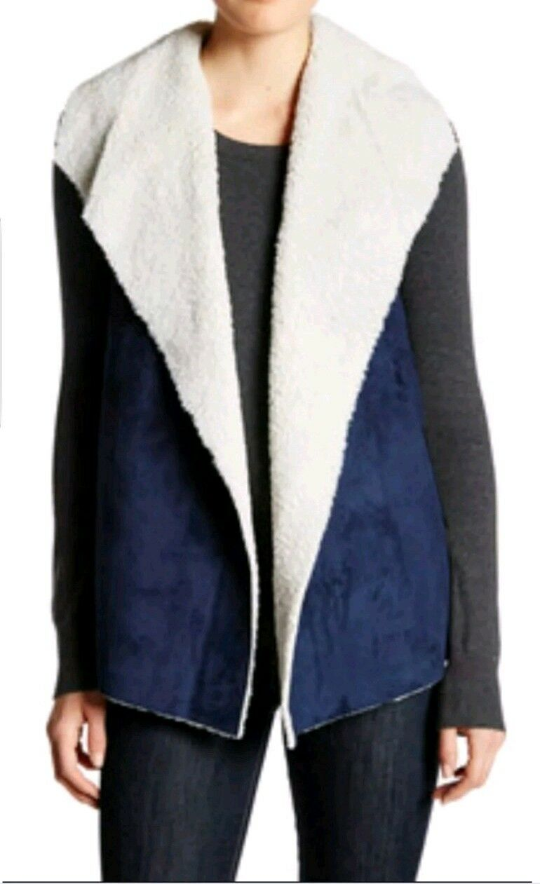MADISON & & & LOLA Faux Shearling Vest Women's Size M Navy- Beige NEW with TAG ee3244