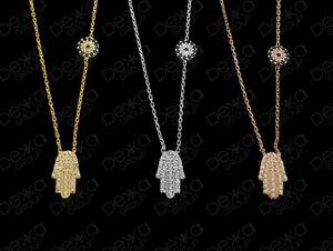 925-Sterling-Silver-Gold-Rose-Hamsa-Hand-Fatima-Evil-Eye-Mati-Nazar-CZ-Necklace