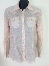 Wrangler Top Pearl Button Long Sleeve Pink Flower Western Womens S