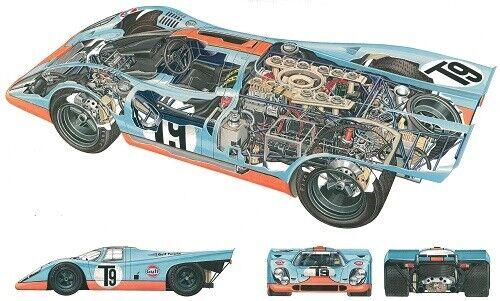 A3 Porsche 917 Cutaway Drawing Wall Poster Art Picture Print