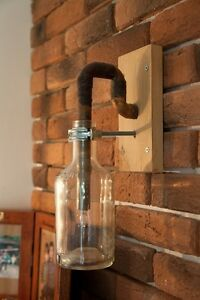 Hand Made Rustic Copper Pipe Lamp With Wooden Base And