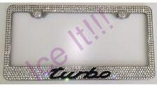 PORSCHE Turbo Stainless Steel license plate frame W Swarovski Crystals
