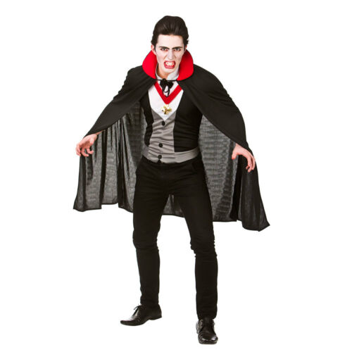 Adults Vampire Costume Bloodthirsty Shirt Front Cape Collar Halloween Fancy Dres