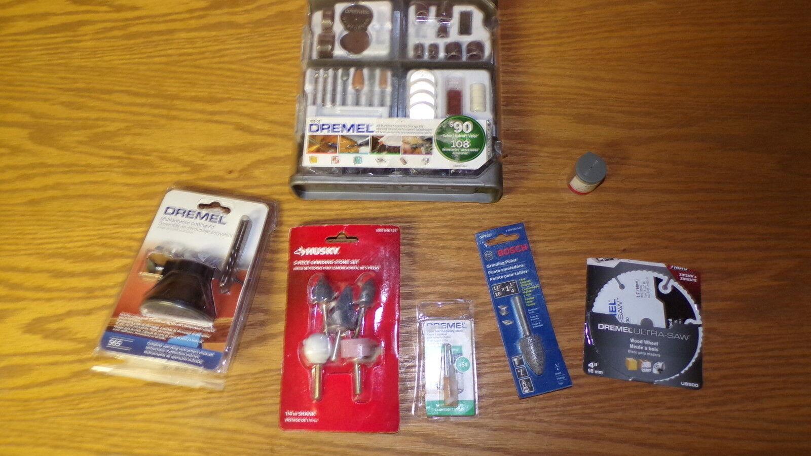 Lot of Dremel Husky & Bosch Grinding Stones Kits, ALL NEW FREE SHIPPING