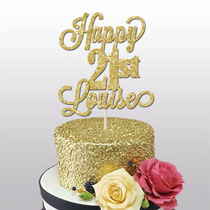 Custom Name 16th18th21st30th Birthday Cake Decoration HAPPY 21st Topper Feestartikelen