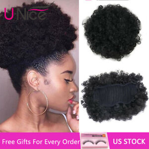 Short-Afro-Curly-Drawsting-Ponytail-Clip-In-Synthetic-Hair-Extensions-US-Stock