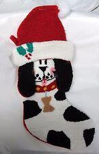 """Black & White DOG w Floppy Ears 18"""" CHRISTMAS STOCKING Punch Needle Hook Rug NEW"""