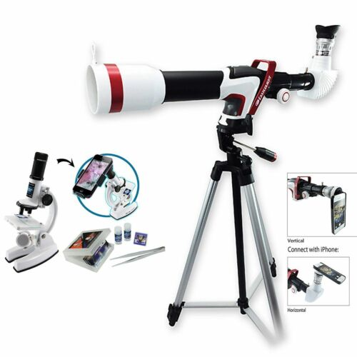 Deluxe 375 Power Hd Sport Telescopio Y Microscopio Set C / Smart Adaptador De Teléfono