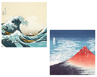 "Japanese Furoshiki Wrapping Cloth Scarf 19.75/"" Cotton Black Modern Fuji Mountain"