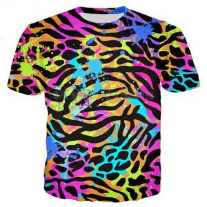 Colorful Paint Stripe Zebra Women Men T-Shirt 3D Print Short Sleeve Tee Tops