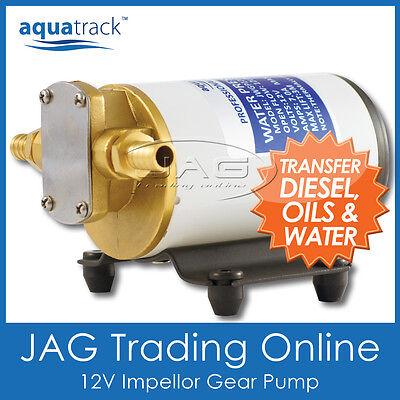 12V AQUATRACK IMPELLOR GEAR PUMP- Water/Diesel/Fuel/Oil Transfer/Scavenge/Marine
