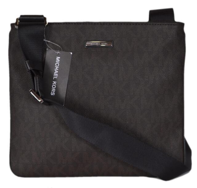 7d829dca6ba4 NEW Michael Kors Men's $198 Coated Canvas Logo Medium Flat Jet Set Messenger  Bag