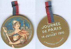 Insigne-de-journees-14-18-Melle-VIGREUX-PARIS-14-juillet-1916-POULBEAU