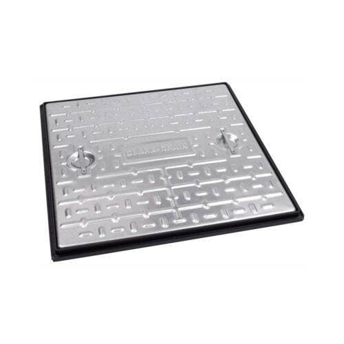 CLARK DRAIN 2.5 TONNE GALVANISED STEEL MANHOLE COVER 600X600MM PC7 AG PEDESTRIAN
