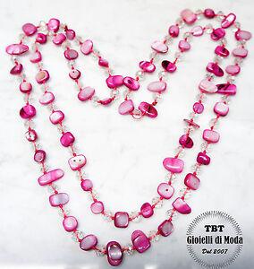 Blu rosa Collana Lunga in Madreperla vera,perle,pietre Dure,cristalli da donna